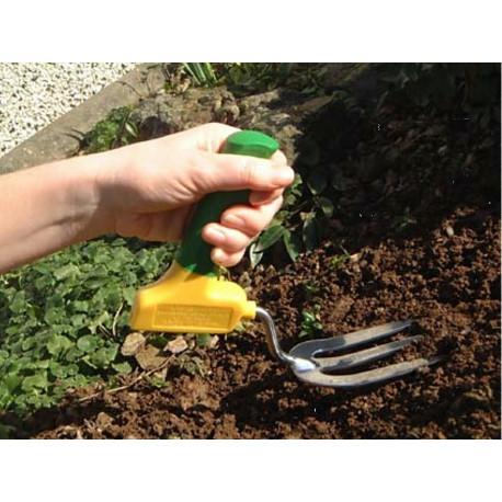 Fourche de jardinage manche perpendiculaire ergonomique