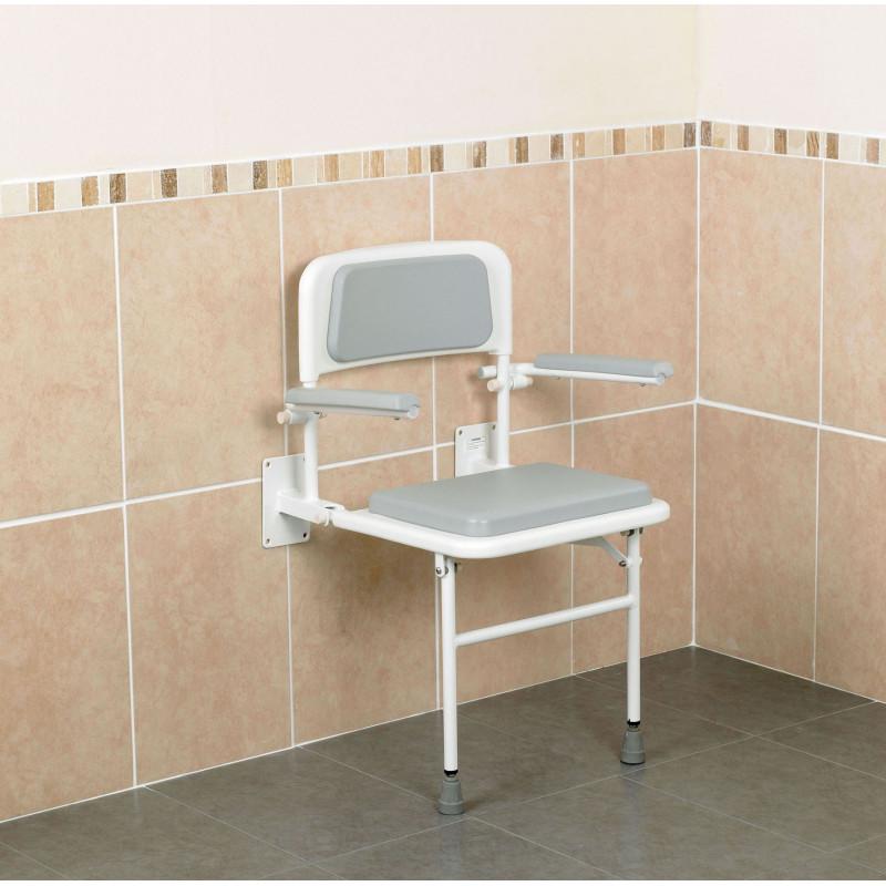 Si ge mural rembourr avec dossier et accoudoirs - Siege salle de bain ...