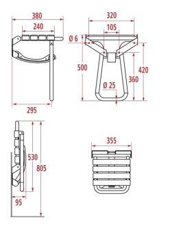 cotes siège de douche escamotable